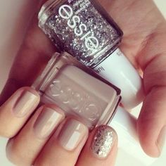 essie nude and sparkle nails