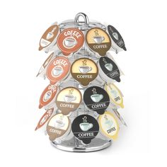 Store your favorite java flavors and brands in this Keurig coffee cup carousel. Its chrome finish will look great next to your Keurig brewing machine, while its lazy susan base makes it easy to find the exact coffee flavor for your morning cup.