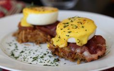 Eggs Benedict with Crisped Pancetta and Rutabaga Latkes  @17 Recipes