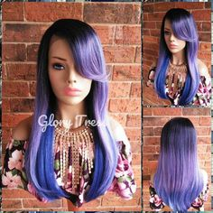 Purple Lace Front Wig, Wigs, Ombre Wig, Ombre Lavender and Blue Wig, Long Straight Wig, Heat Safe, READY To SHIP // CHERISH Mermaid Wig, Flat Iron Curls, Blue Wig, Straight Lace Front Wigs, Ombre Wigs, Purple Lace, Wig Cap, Natural Looks, Textured Hair