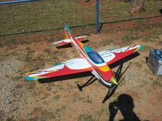 Pattern ship rc plane.- counter rotating prop.