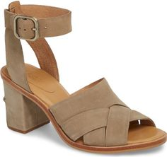 Ugg Sandra Ankle Strap Sandal in Beige. A block heel adds walkable height to a warm-weather sandal in a contemporary braided-vamp silhouette secured by an adjustable ankle strap.. #shoes#fashion#style#stylish#trendy