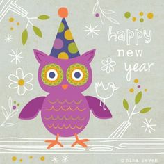 Happy New Year Illustration Owl Crafts, Paper Crafts, New Year Illustration, Illustrations, Owl Quotes, New Years Eve Day, Cross Stitch Owl, Owl Wallpaper, Owl Fabric