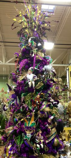 Mardi Gras Tree.  Designed by Arcadia Floral & Home Decor