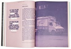 Editorial spread - large full page image with pull quote and single text column. Love the monochrome pink and purple. #design #editorial