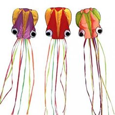 Hengda Kite-Pack 3 Colors Beautiful Large Easy Flyer Kite for Kids-software octopus-It's BIG! 31 Inches Wide with Long Tail 157 Inches Long-Perfect for Beach or Park by Hengda kite Kites For Kids, Kite Flying, Windy Day, Beautiful Children, Disney Characters, Outdoor Decor, Pattern, Crowd, Families