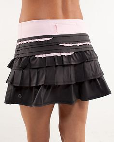 Lululemon back on track running skirt, adorable! I have a hot pink one I can run in, but I love these ruffles!