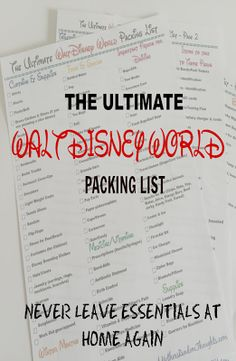 The Ultimate Disney World Packing List - Walt Disney World Acronyms, Terminology and Timeline for planning your trip.
