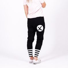 Apartment pants in Black with cross print on back. Drop crotch, pockets, with wide black and white ribbed cuffs. Home-lee Stockist. Drop Crotch, Black Pants, Sweatpants, Black And White, Jay, Cuffs, Stuff To Buy, Pockets, Shopping