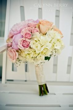 Pink rose and white hydrangea wedding bouquet.