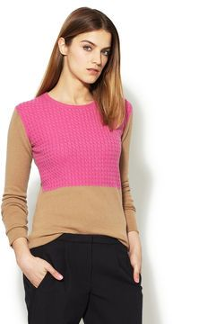ShopStyle: Cable Knit Colorblock Sweater
