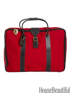 T. Anthony soft canvas bag. Designer favorites. housebeautiful.com. #red #travel #luggage