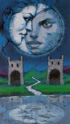Divination and Oracles ☽ Navigating the Mystery ☽ The Moon - Tarot of Reflections Tarot Cards Major Arcana, Astro Tarot, Tarot Prediction, The Moon Tarot, Symbolic Art, Oracle Tarot, Tarot Card Decks, Retro Art, Vintage Art