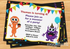 monsters birthday party invitations