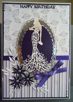 Card made using Tattered Lace free glamour puss die from magazine and sentiment Birthday Cards For Women, Handmade Birthday Cards, Card Making Inspiration, Making Ideas, Art Deco Cards, Tattered Lace Cards, Handmade Card Making, Dress Card, Birthday Scrapbook