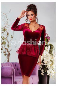 -23% Rochie Bright Bordo din Catifea cu Broderie Peplum Dress, Bright, Romania, Dresses, Fashion, Embroidery, Gowns, Moda, Fashion Styles