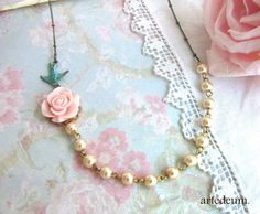 Pearl Necklace Flower Swallow Necklace Pink Blue by WhiteTeapot