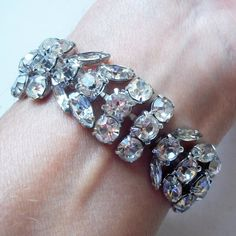 Vintage 1940s-1950s Clear Rhinestone Bracelet - Wide Silvertone Bracelet w/ Large White Crystals - Marquis, Round Stones - Mid-Century