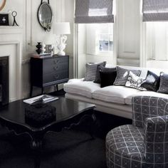 small area living black and white interior design Cream White Room, Black And White Living Room, Black And White Interior, Living Room Grey, Living Rooms, Interior Design Images, White Interior Design, Art Teen, Shabby Chic Living Room