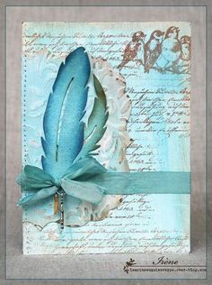 vintage decoupage 39 little bi Feather Cards, Mixed Media Cards, Ideias Diy, Sympathy Cards, Greeting Cards, Beautiful Handmade Cards, Bird Cards, Stamping Up Cards, Handmade Birthday Cards