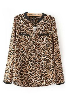 Leopard Print Chiffon Shirt with Pockets [DLN0477] - PersunMall.com