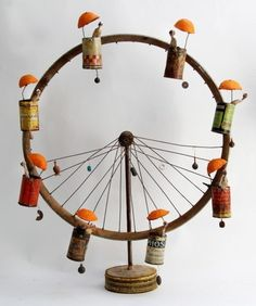 Gérard Cambon mixed media assemblage art sculpture the ferris wheel Found Object Art, Arte Popular, Assemblage Art, Recycled Art, Repurposed, Recycled Clothing, Recycled Fashion, Wire Art, Art Plastique