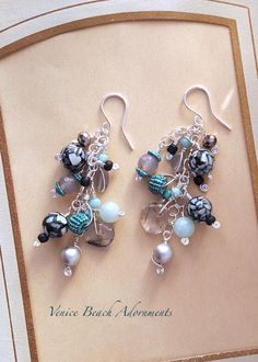 Silver Long Dangle Earrings with chalcedony, pearl, shell mosaic, and gray quartz by VeniceBeachAdornment on Etsy