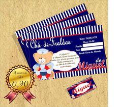 Convite personalizado no tema Ursinho Marinheiro  no tamanho 10 x 7 cm. Todos os dizeres podem ser personalizados!