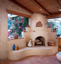 This style of adobe fireplace, would go nicely in my spanish style house I think. Southwestern Home, Southwest Decor, Southwest Style, Adobe Fireplace, Fireplace Design, Spanish Style Homes, Spanish House, Adobe Haus, Earthship Home