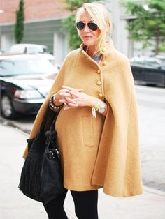 Fantastic camel cape with black.