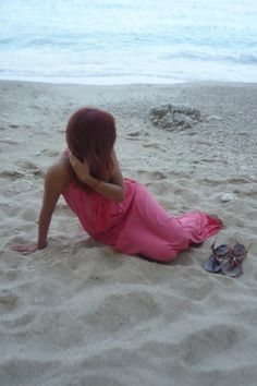 Greece, Lefkada. Zara coral dress with fringes