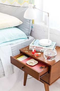 @refinery29 gives you 3 easy steps To make your bedroom awesome. Our mid century modern two door accent table will help you achieve room nirvana in a matter of seconds. http://www.refinery29.com/how-to-maximize-bedroom-space