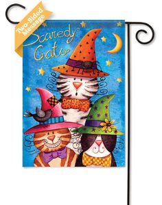 Flags On A Stick - Scaredy Cats Halloween Garden  Flag - 2 Sided Message, $9.99 (http://www.flagsonastick.com/new-arrivals/new-fall-flags/scaredy-cats-halloween-garden-flag-2-sided-message/)