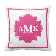 Classic Seafoam Green and White Monogram Pillow. Seafoam green and white classic style monogram throw pillow. Monogram Pillows, Pink Pillows, Pink Bedding, Monogram Initials, Custom Pillows, Decorative Throw Pillows, Luxury Bedding, Monogram Dorm, Pillow Room