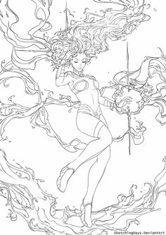 Line Art Coloring. Coloring book pages also can inform youngsters, coaching them through concepts and numerous designs. Coloring book pages for children are a c Adult Coloring Book Pages, Coloring Pages For Girls, Colouring Pics, Coloring Sheets, Coloring Books, Drawing Superheroes, Sexy Drawings, Classic Paintings, Fantasy Women