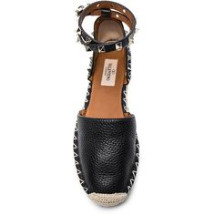Valentino Rockstud Double Flat Leather Espadrilles ❤ liked on Polyvore featuring shoes, sandals, black shoes, flat leather sandals, black leather shoes, espadrilles shoes and leather espadrille sandals