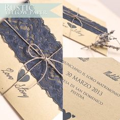 Rustic Wedding  Yellow Paper and pizzo