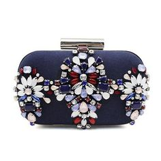 Embellished deep blue satin clutch with crystal and diamond flower.