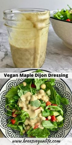 This maple dijon dressing is a delicious vegan salad dressing. It is whole -foods plant based with no oil. It's easy to make. Plant Based Whole Foods, Plant Based Eating, Plant Based Recipes, Vegan Sauces, Vegan Foods, Vegan Dishes, Vegan Recipes Easy, Raw Food Recipes, Vegetarian Recipes