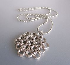 Flower of Life Chainmaille Necklace by RedBessBonney on Etsy, $20.00