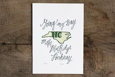 North Carolina Letterpress Print-- They have WV too.