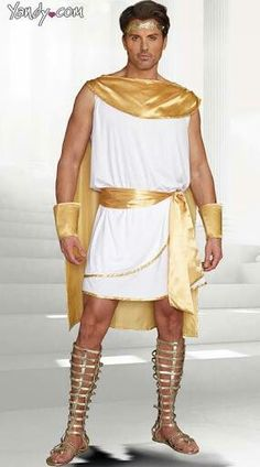 The four-piece, He's A God costume includes a white tunic with gold satin attached cape, gold trim, gold leaf headpiece, removable belt and wrist gauntlets. Spartan Costume, Warrior Costume, Goddess Costume, Toga Costume Diy, Diy Costumes, Costume Ideas, Halloween Costumes, Halloween 2017, Costume Makeup