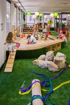 Kids playground design must have safety, goal, and theme. Here are several considerations before constructing a playground. Kindergarten Interior, Kindergarten Design, Playground Design, Outdoor Playground, Children Playground, Playground Ideas, Inside Playground, Play Spaces, Learning Spaces