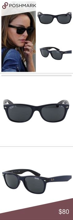 NEW WAYFARER BLACK NAVY RAY BAN SUNGLASSES & CASE NEW Ray Ban New Wayfarer Limited Edition-style: RB2132 New Wayfarer Classic Sunglasses, Blue/Blue Grey. With gold accents. Lens width: 52 millimeters-Bridge: 18 millimeters-Arm: 145 millimeters. Made in Italy. Comes with leather case, black box, cleaning cloth, Ray Ban Warranty & always a gift. Made in Italy. Enjoy! Ray-Ban Accessories Sunglasses