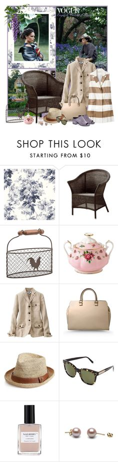 """""""English Country Garden"""" by mariapia65 ❤ liked on Polyvore featuring Casual Life Furniture, Royal Albert, Uniqlo, Victoria Beckham, Melissa Odabash, Nailberry, country and EnglishCountry"""