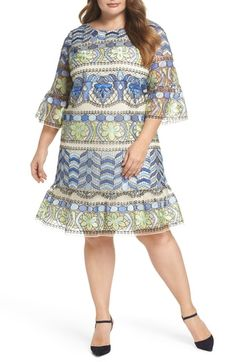 99a5882581e4 ECI Emboidered Ruffle Sleeve Dress Bell Sleeves