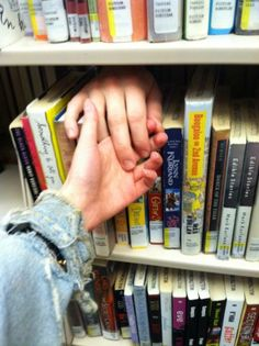 books, boy, cute couple, cute love, distance, girl, guys, hand to hand, harry potter, library, love, pale, soft grunge, style, tumblr
