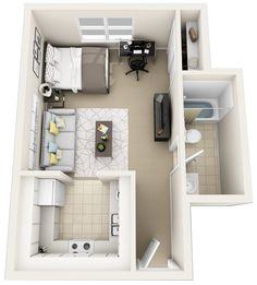 home layout plans 466192998925565346 - cool 56 Cool One Bedroom Apartment Plans Ideas Source by Studio Apartment Floor Plans, Studio Apartment Layout, Studio Apartment Decorating, Apartment Plans, Two Bedroom Apartments, One Bedroom Apartment, Apartment Interior, Small Apartments, Sims House Plans