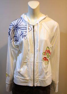 CABI-M-Medium-White-Embroidered-Jacket-Hoodie-Style-910
