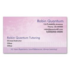 tutoring business card sample | Products I Love | Pinterest ...